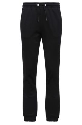 Pantalon de jogging Regular Fit en coton mélangé chiné : « Hadiko », Noir
