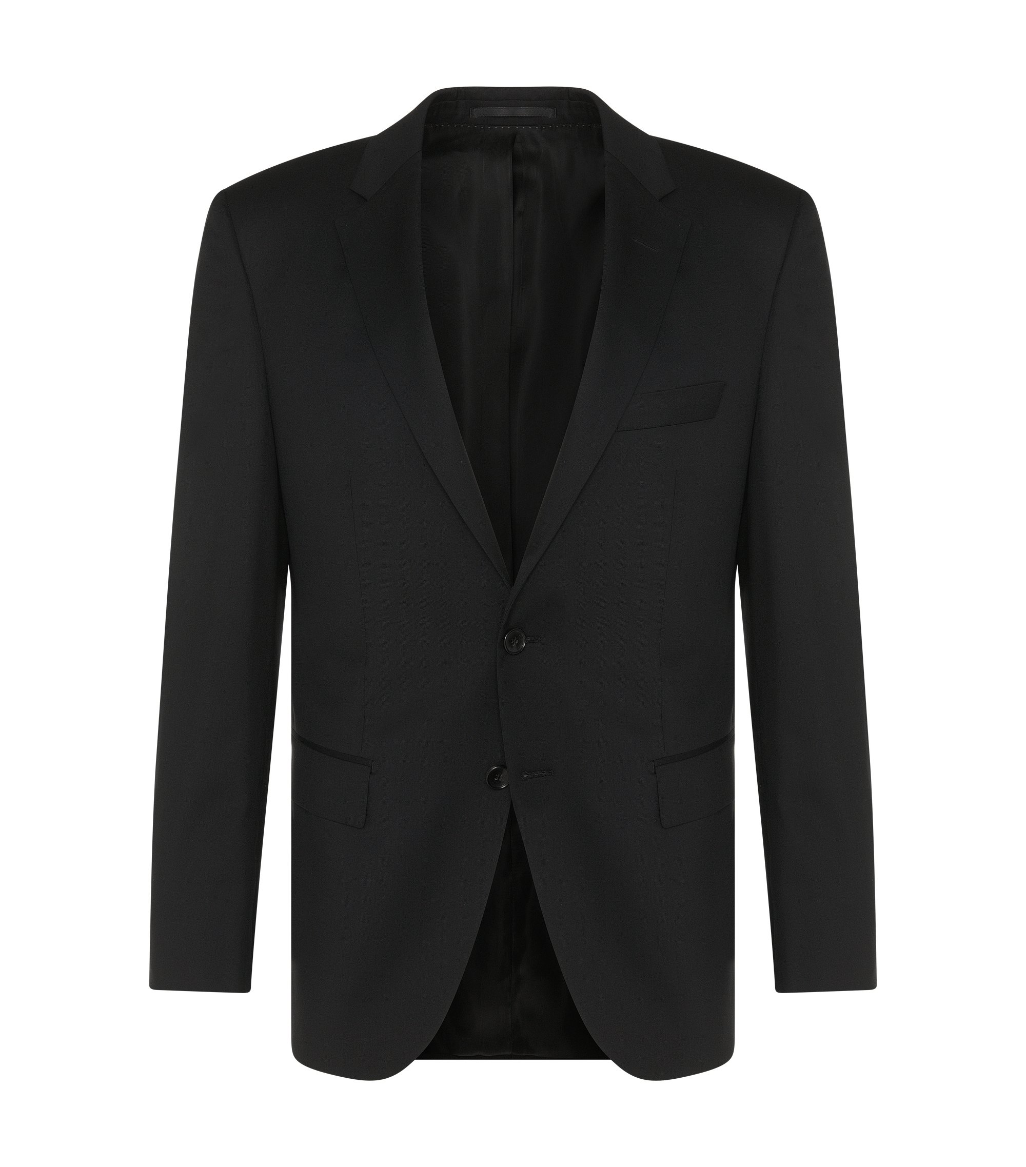 Veste de costume Regular Fit Tailored en laine vierge : « T-Howard4 », Noir