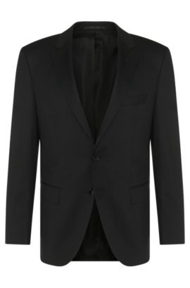 Americana regular fit Tailored en lana virgen: 'T-Howard4', Negro