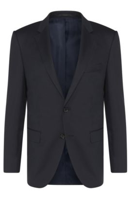 Veste de costume Regular Fit Tailored en laine vierge : « T-Howard4 », Bleu foncé