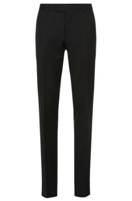 Pantalon Slim Fit Tailored en pure laine vierge : « T-Court5 », Noir