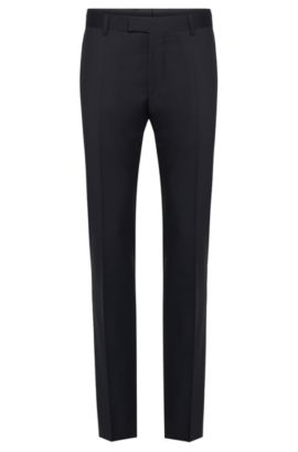 Slim-fit Tailored trousers in pure new wool: 'T-Court5', Dark Blue