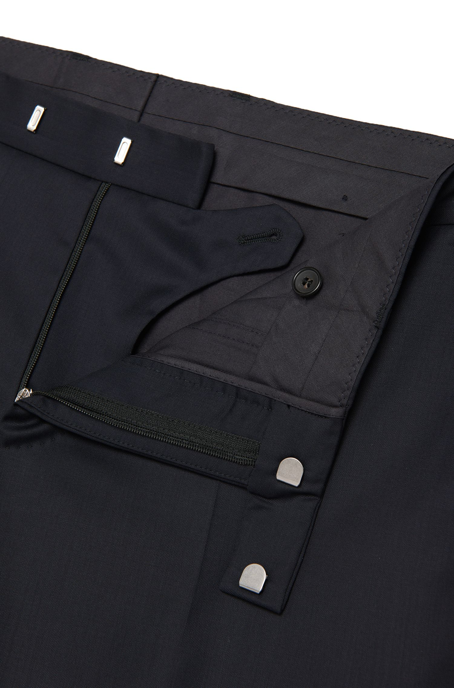Pantalón Tailored slim fit en pura lana virgen: 'T-Court5', Azul oscuro