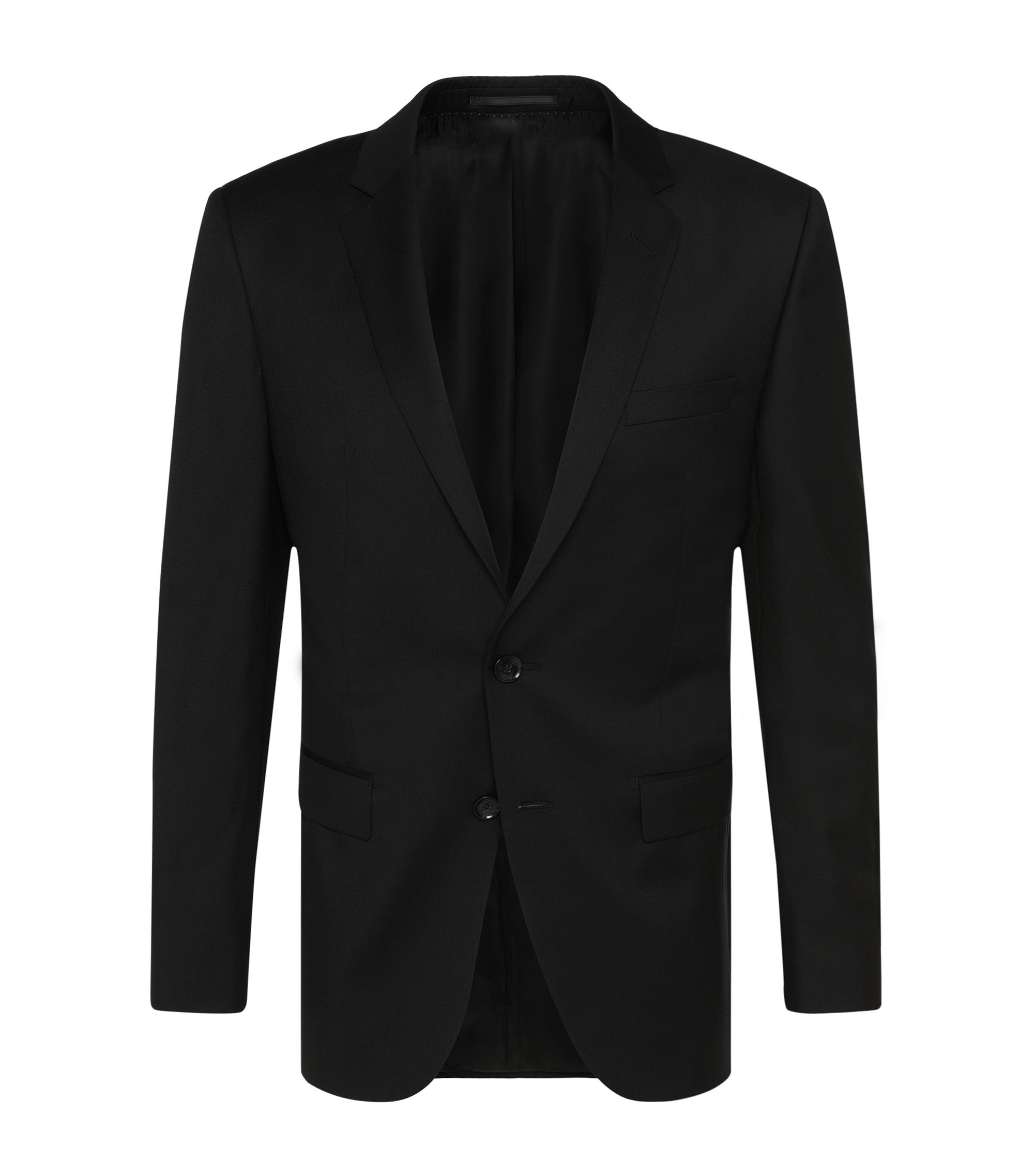 Veste de costume Slim Fit Tailored en pure laine vierge : « T-Harvers2 », Noir