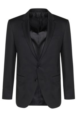 Slim-fit Tailored jacket in pure new wool: 'T-Harvers2', Anthracite