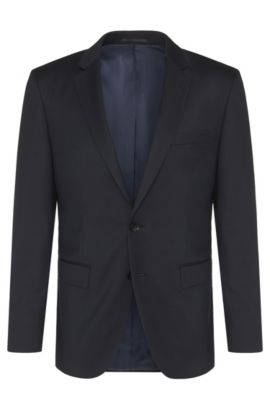 Slim-fit Tailored jacket in pure new wool: 'T-Harvers2', Dark Blue