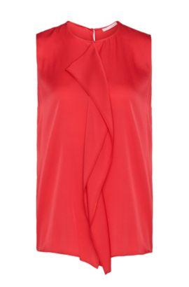 Haut en soie stretch à empiècement décoratif: «Ifania», Rose foncé