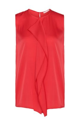 Top in stretch silk with decorative trim: 'Ifania', Dark pink