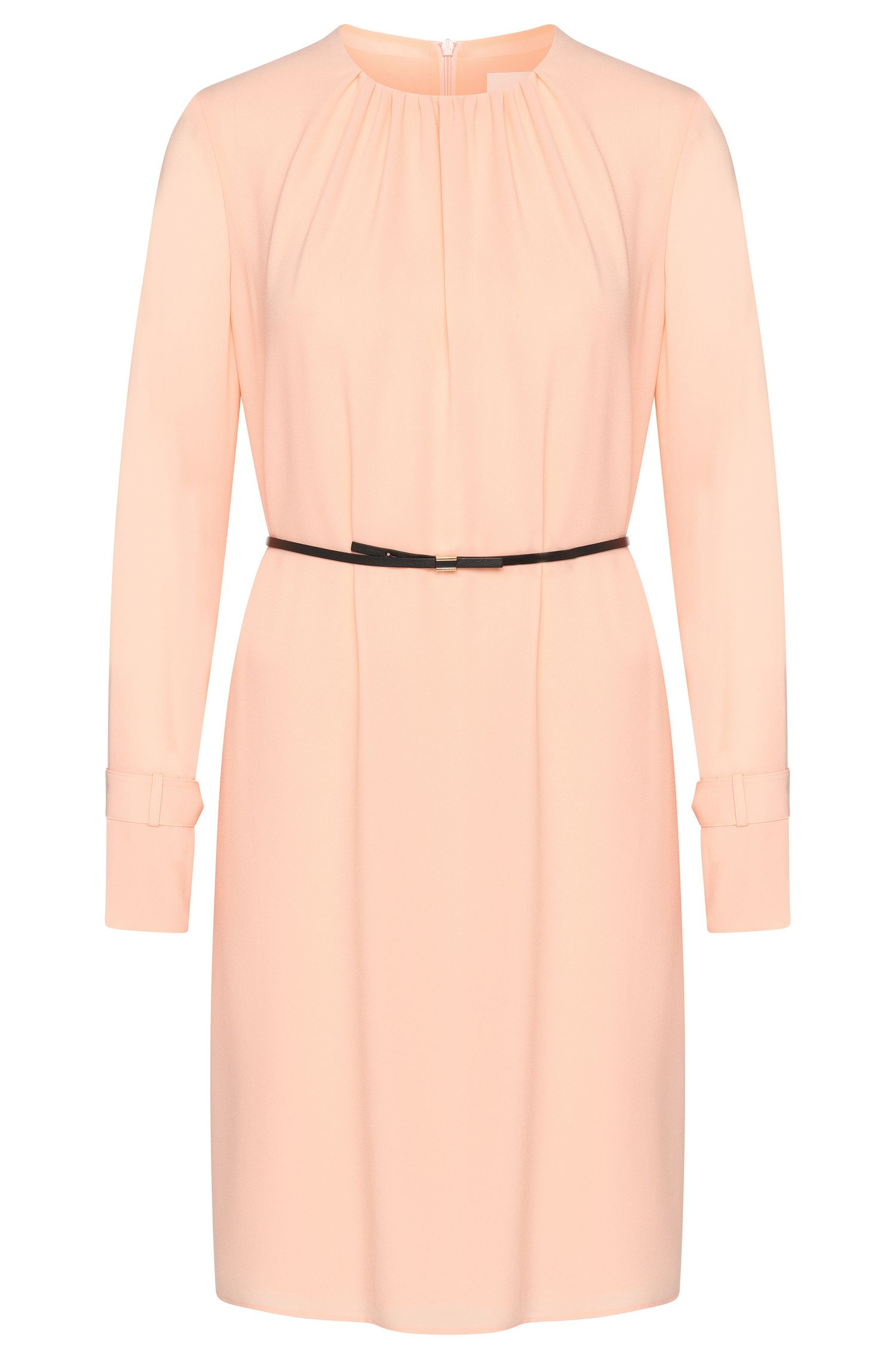 Chiffon dress with a narrow leather-effect belt: 'Danoli'