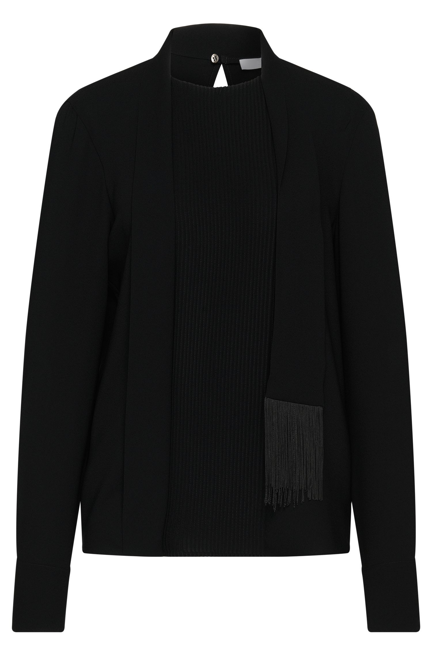 Blouse with pintucks and shawl collar: 'Banoki'