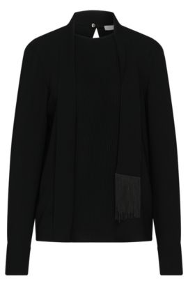 Blouse with pintucks and shawl collar: 'Banoki', Black