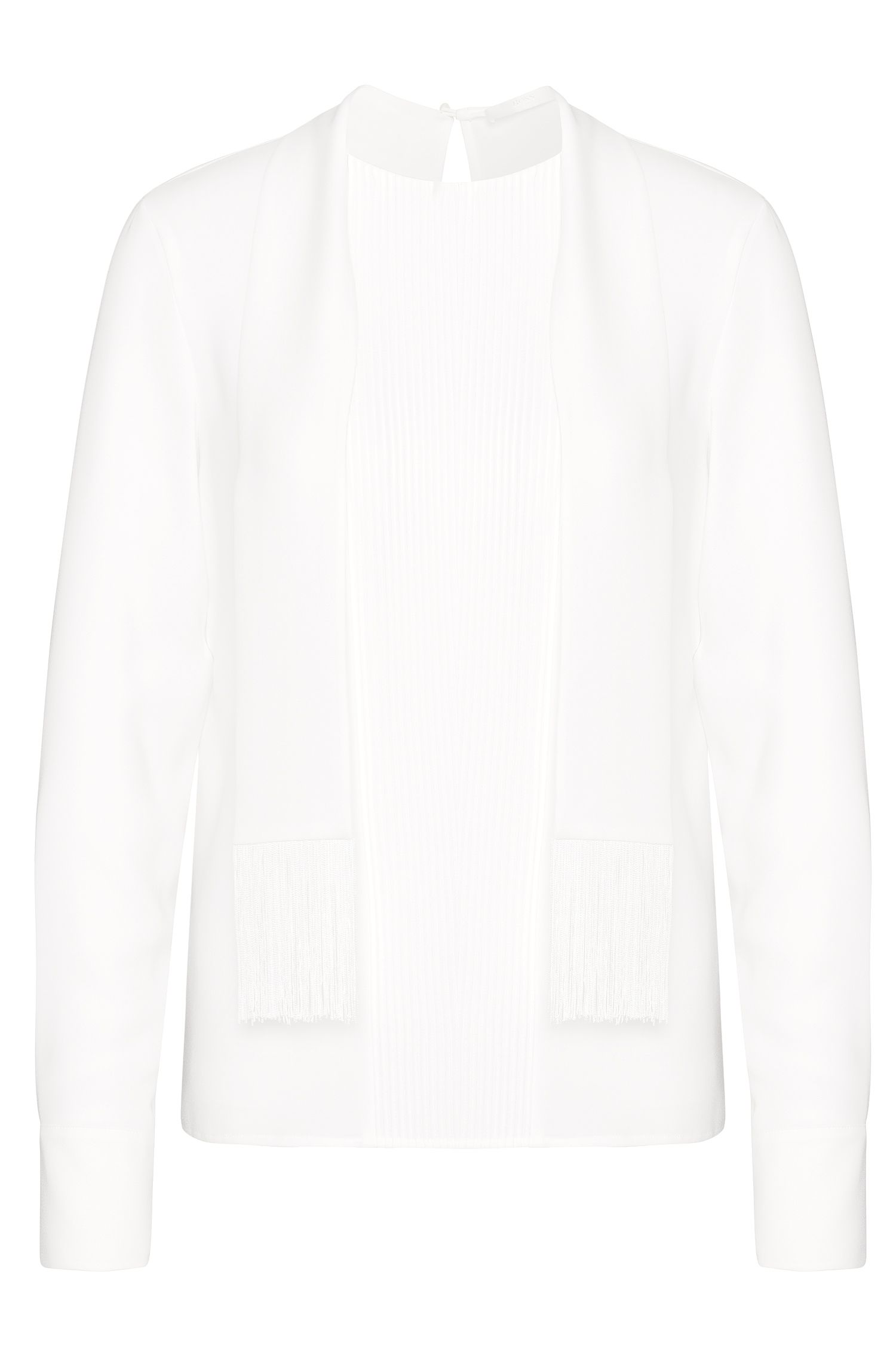 Blouse with pintucks and shawl collar: 'Banoki'