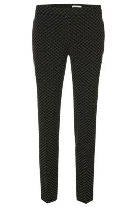 Slim-fit broek met all-over dessin: 'Tiluna_Sidezip1', Zwart