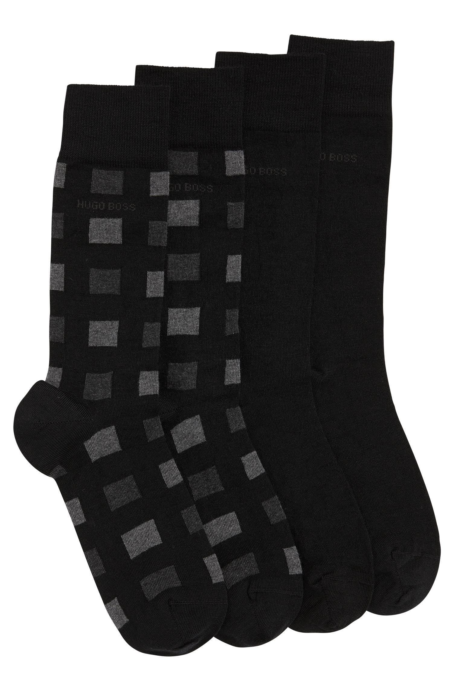 Paquete de dos pares de calcetines en mezcla de lana elástica con algodón: 'Twopack RS Design'