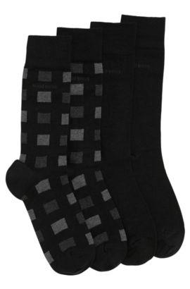Socken aus elastischem Woll-Mix mit Baumwolle im Zweier-Pack: 'Twopack RS Design', Schwarz