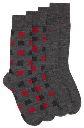 Lot de deux paires de chaussettes en laine extensible mélangée à du coton: «TwopackRSDesign», Gris