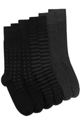 Socken aus elastischem Baumwoll-Mix im Dreier-Pack: 'S 3P Design Box', Schwarz