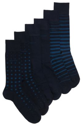 Socks in stretchy cotton blend in a triple pack: 'S 3P Design Box', Dark Blue