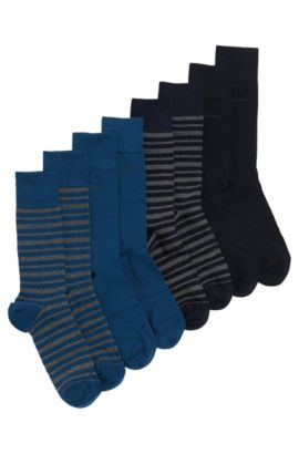 Socks in stretchy cotton blend in a 4-pack: 'S 4P Design Box', Dark Blue