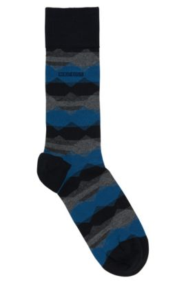 Chaussettes à motif en coton mélangé extensible: «RS Design», Bleu foncé
