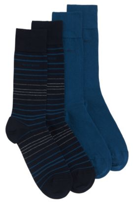 Socks in stretch cotton blend in a double pack: 'Twopack RS Design', Dark Blue