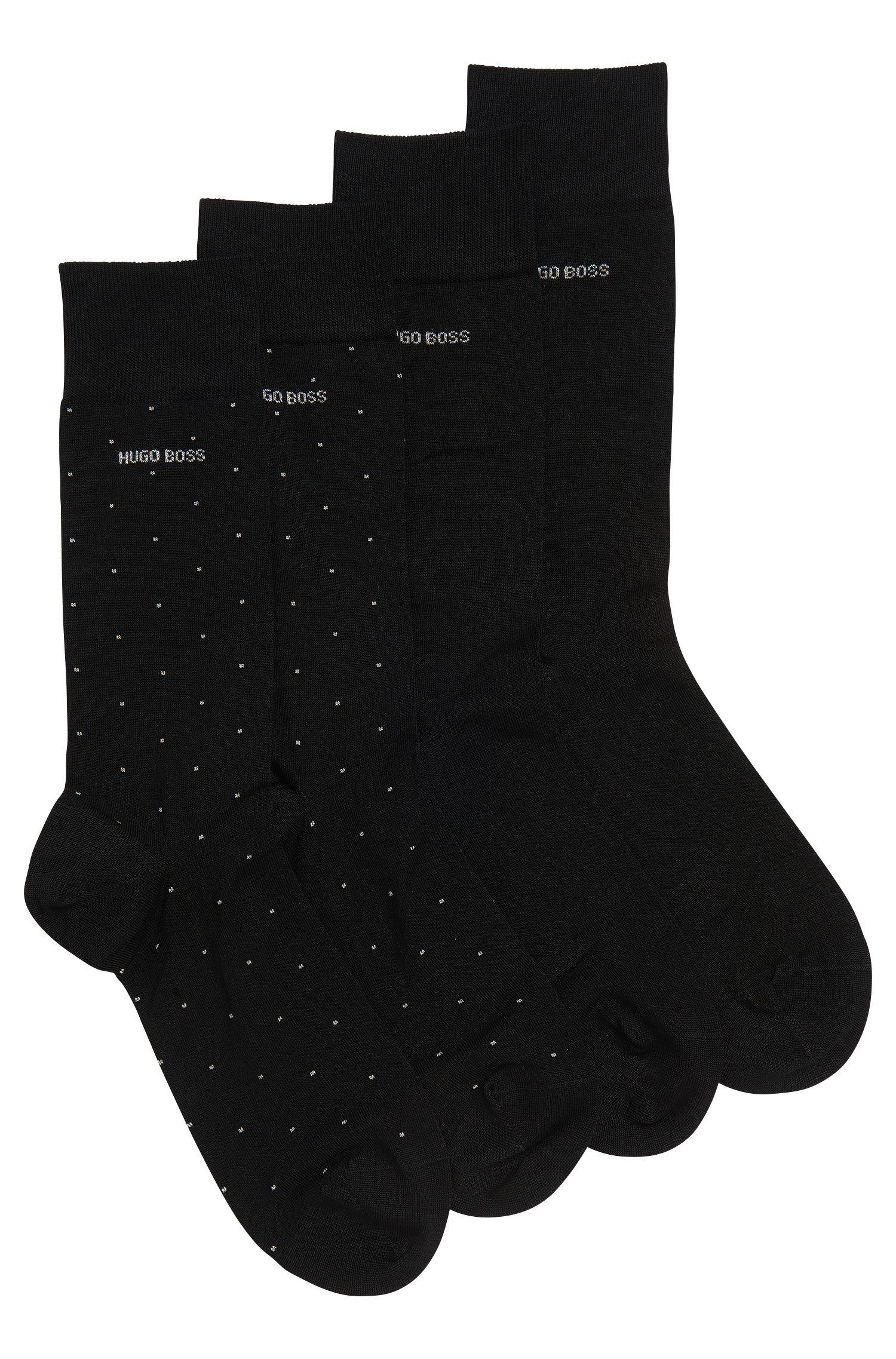 Zweier-Pack mittelhohe Socken aus elastischem Baumwoll-Mix mit Metallic-Details im Geschenk-Set, Schwarz