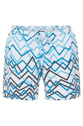 Swim shorts in brushed technical fabric, Open Blue
