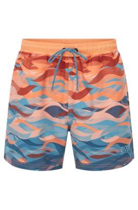Sneldrogende zwemshort met zigzagdessin: 'Piranha', Lichtblauw