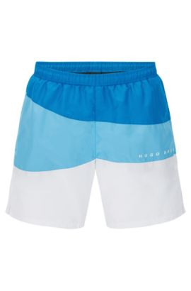 Quick-drying swim shorts with drawstring inside: 'Butterflyfish', Blue