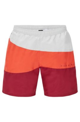 Quick-drying swim shorts with drawstring inside: 'Butterflyfish', Open Red