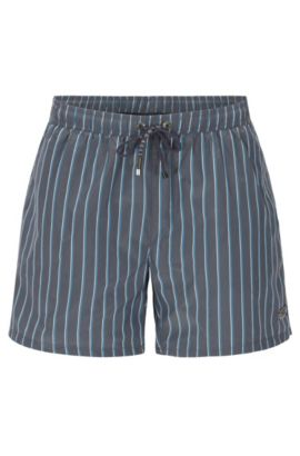 Striped swim shorts in a quick-drying fabric blend: 'Mandarinfish', Open Grey