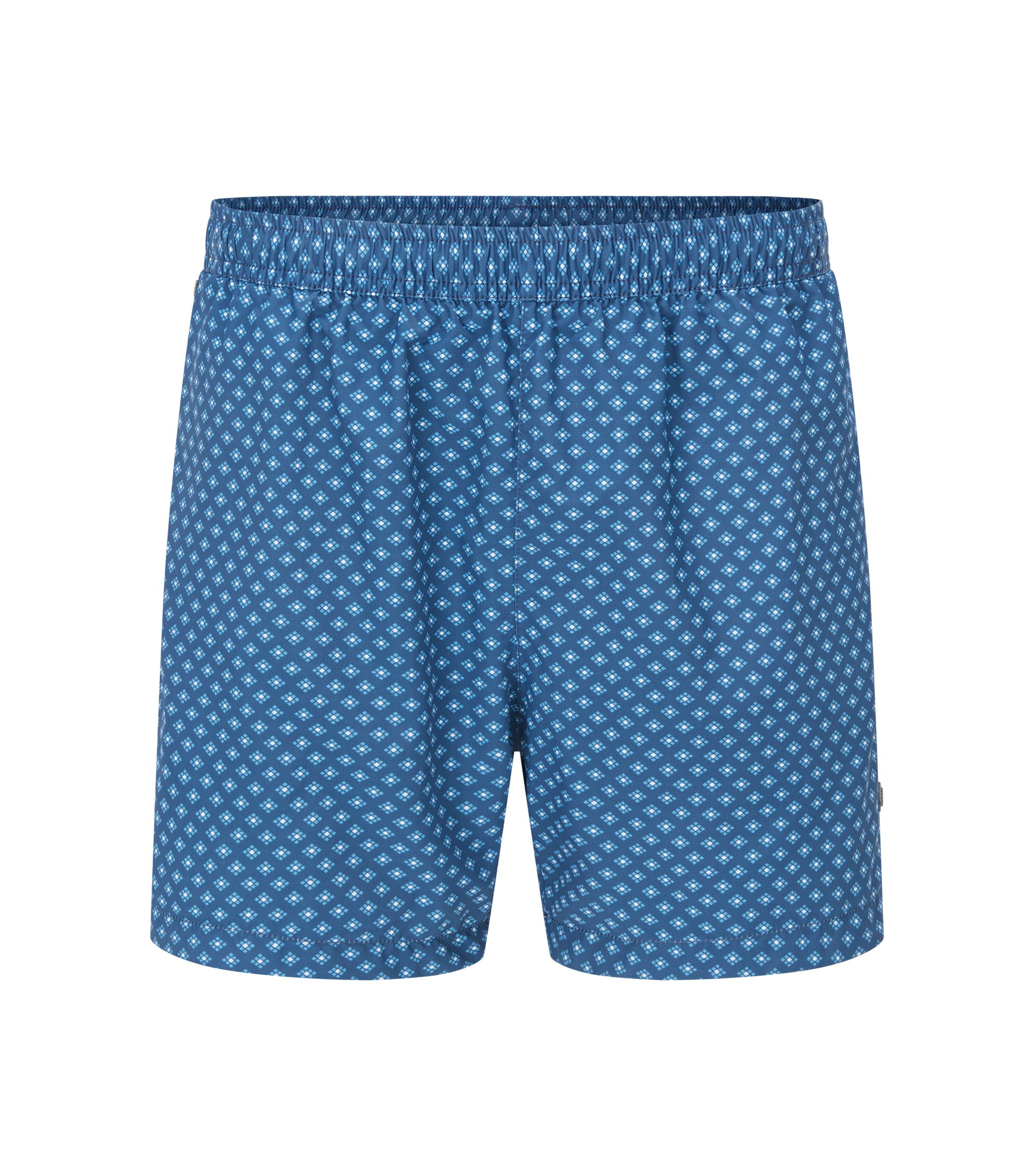 Printed swim shorts in soft technical fabric, Blue