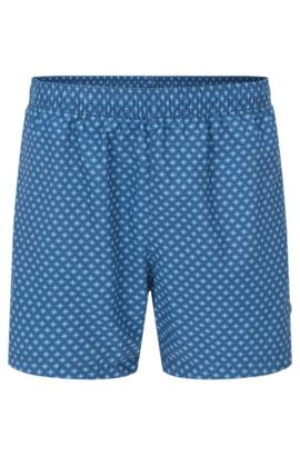 Printed swim shorts in soft technical fabric, Open Blue