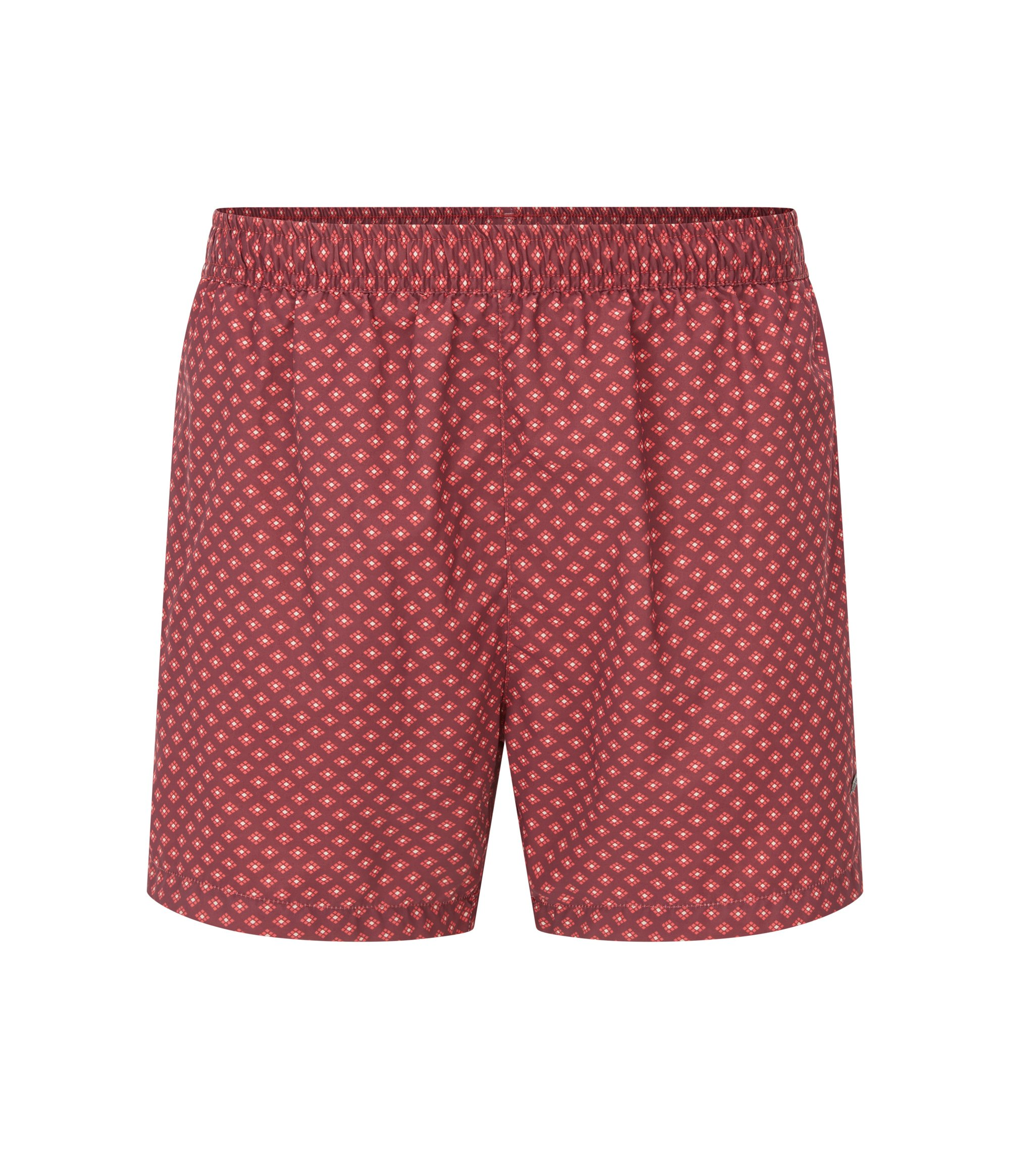 Printed swim shorts in soft technical fabric, Red