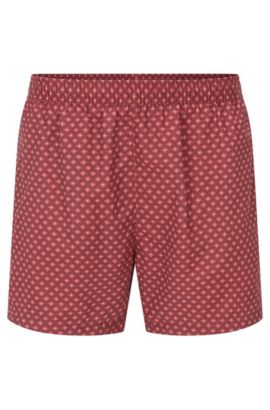 Printed swim shorts in soft technical fabric, Open Red
