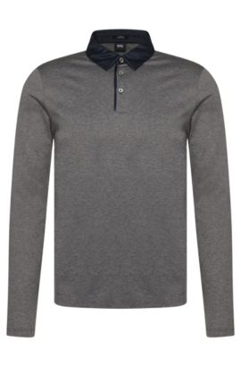 Slim-fit long-sleeved polo shirt in mercerised cotton: 'Prall 05', Grey