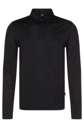 Slim-fit long-sleeved polo shirt in mercerised cotton: 'Prall 05', Dark Blue