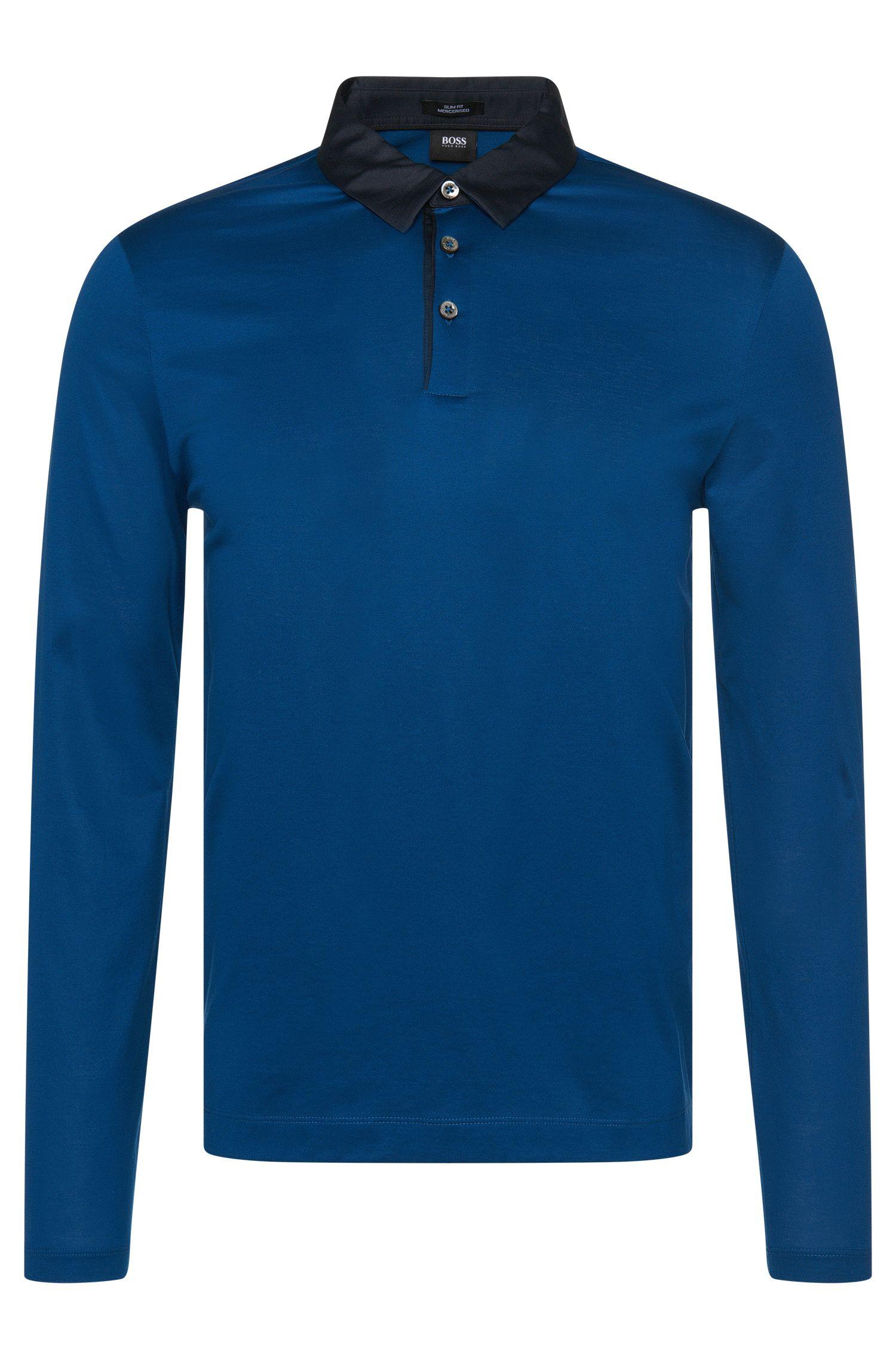 Slim-Fit Longsleeve-Poloshirt aus merzerisierter Baumwolle: 'Prall 05'