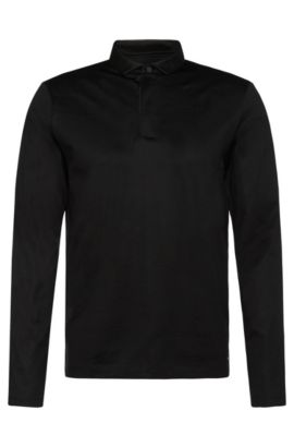 Plain-coloured slim-fit polo shirt in mercerised cotton: 'Prall 06', Black