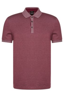 Mottled slim-fit polo shirt in cotton: 'Phillipson 07', Dark Purple