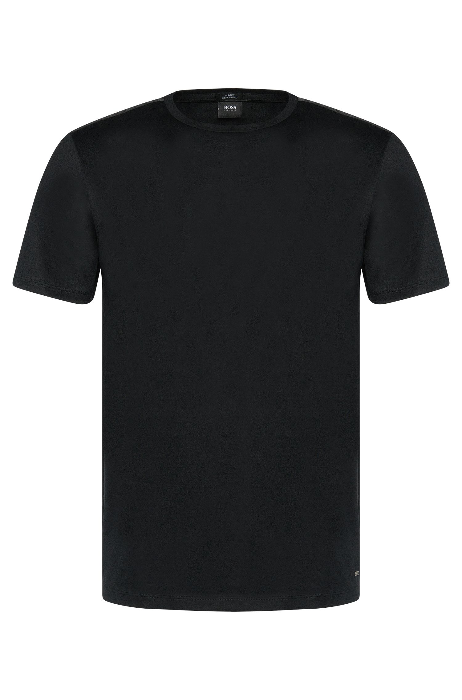 Slim-fit t-shirt in mercerised cotton with panels in ribbing: 'Tessler 36'