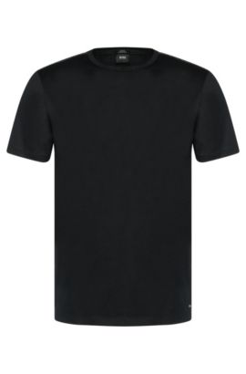 Slim-fit t-shirt in mercerised cotton with panels in ribbing: 'Tessler 36', Black