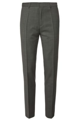 Pantalon Slim Fit finement structuré en pure laine vierge : « HartleyS », Gris