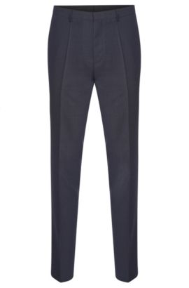 Pantaloni slim fit in pura lana vergine finemente lavorata: 'HartleyS', Blu scuro