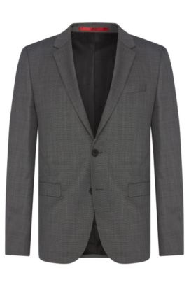 Americana slim fit en pura lana virgen con textura fina: 'AldonS', Gris