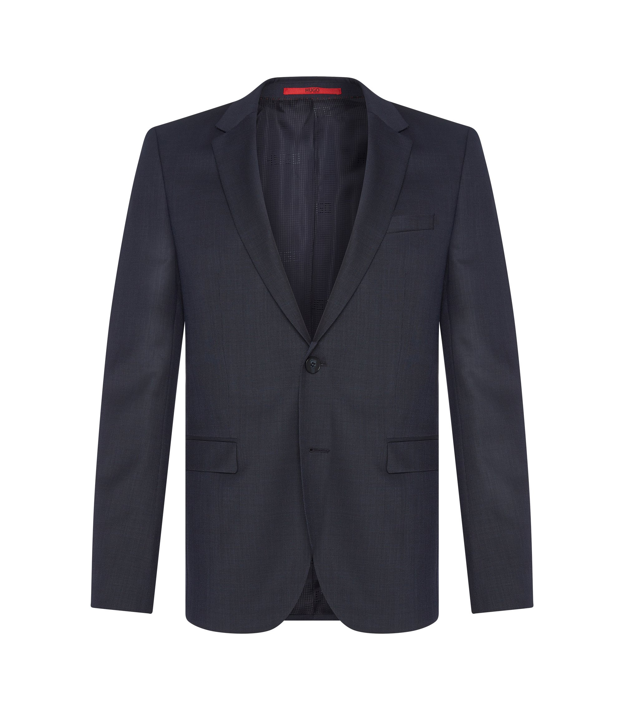 Finely textured slim-fit jacket in pure new wool: 'AldonS', Dark Blue