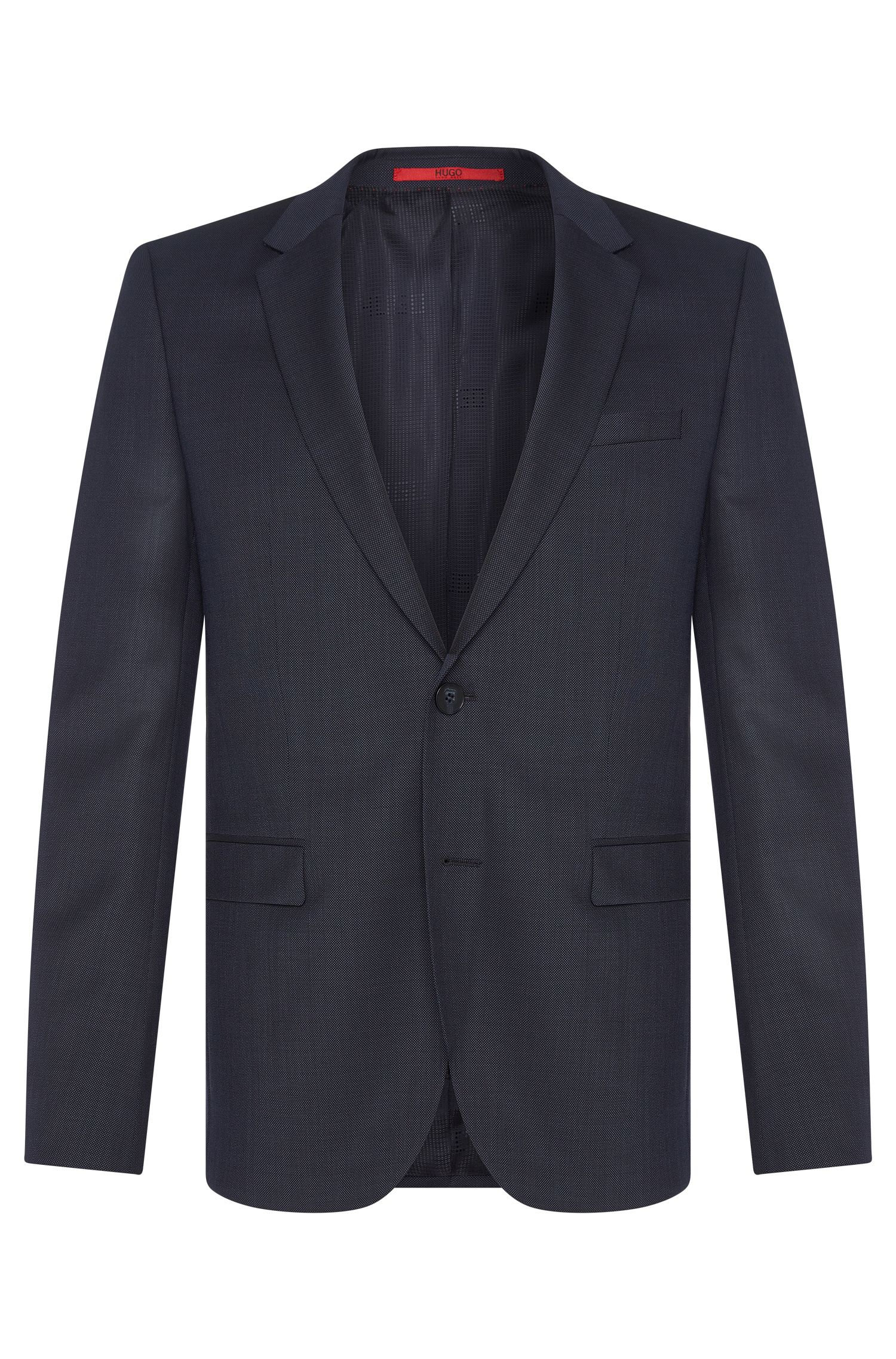 Finely textured slim-fit jacket in pure new wool: 'AldonS'