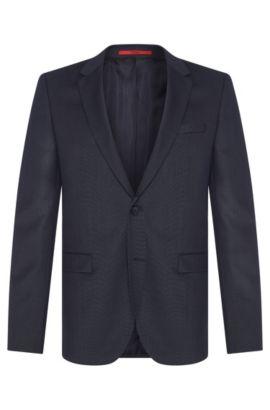 Veste de costume Slim Fit finement structurée en pure laine vierge: «AldonS», Bleu foncé