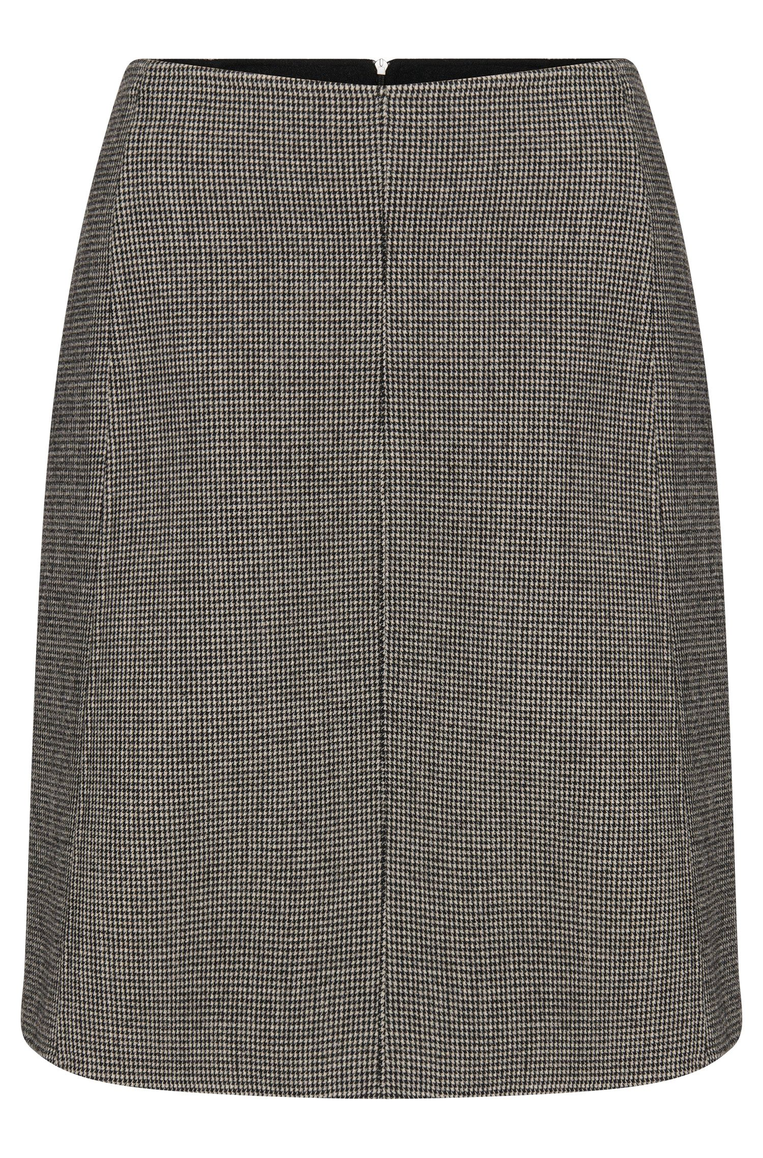 Finely checked skirt in stretchy wool blend: 'Vasyla'