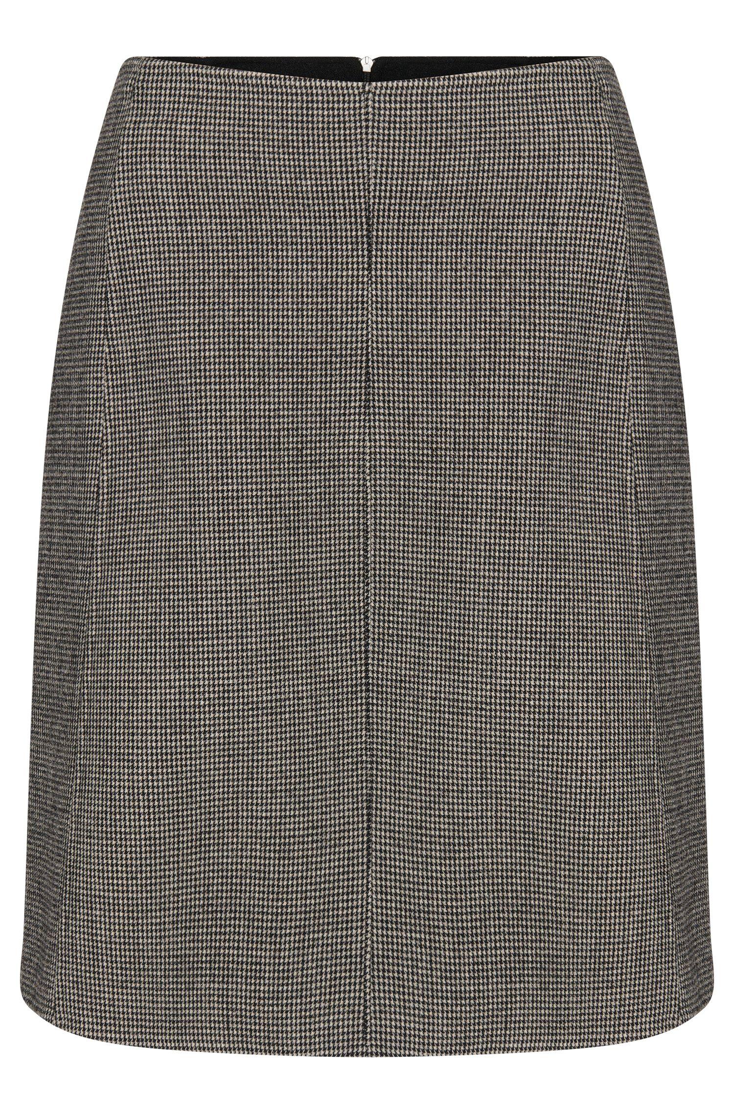 Falda con cuadros finos en mezcla de lana elástica: 'Vasyla'